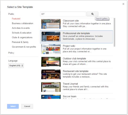 Google Sites - e/Workbooks and e/Portfolios