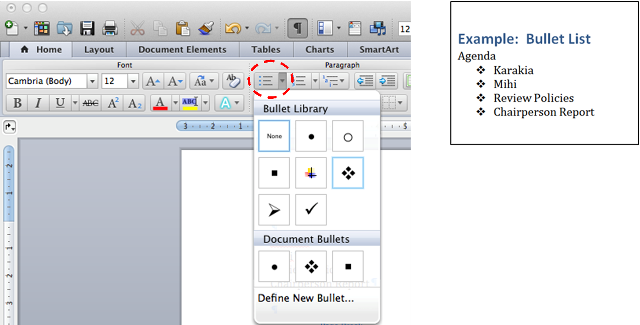 how to change bullets in word on mac