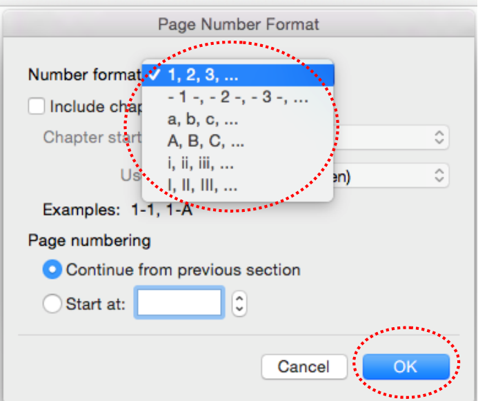 Word For Mac Page Numbers: Roman Numerals Then Arabic Numerals