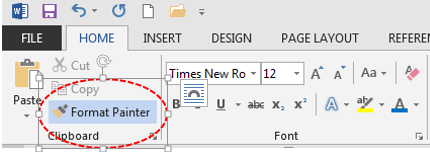 how to use format painter in word 2013