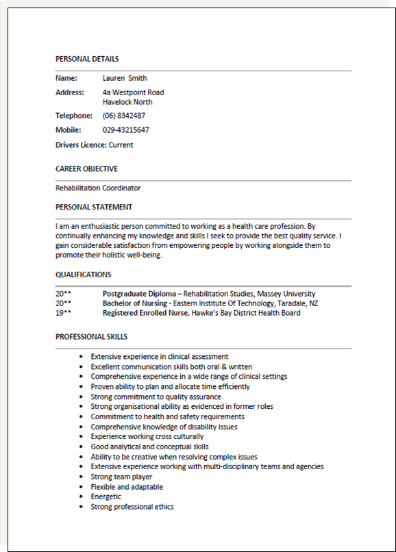 personal statement for cv