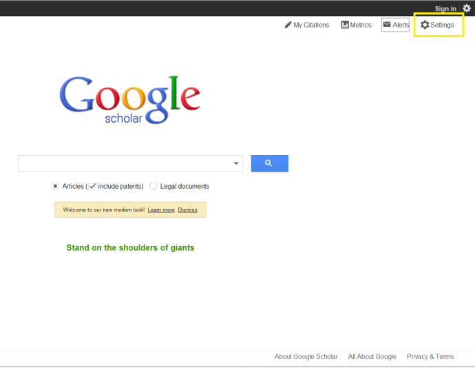 Googlescholar1g navigate to google scholar and select the settings option in the upper right stopboris Image collections